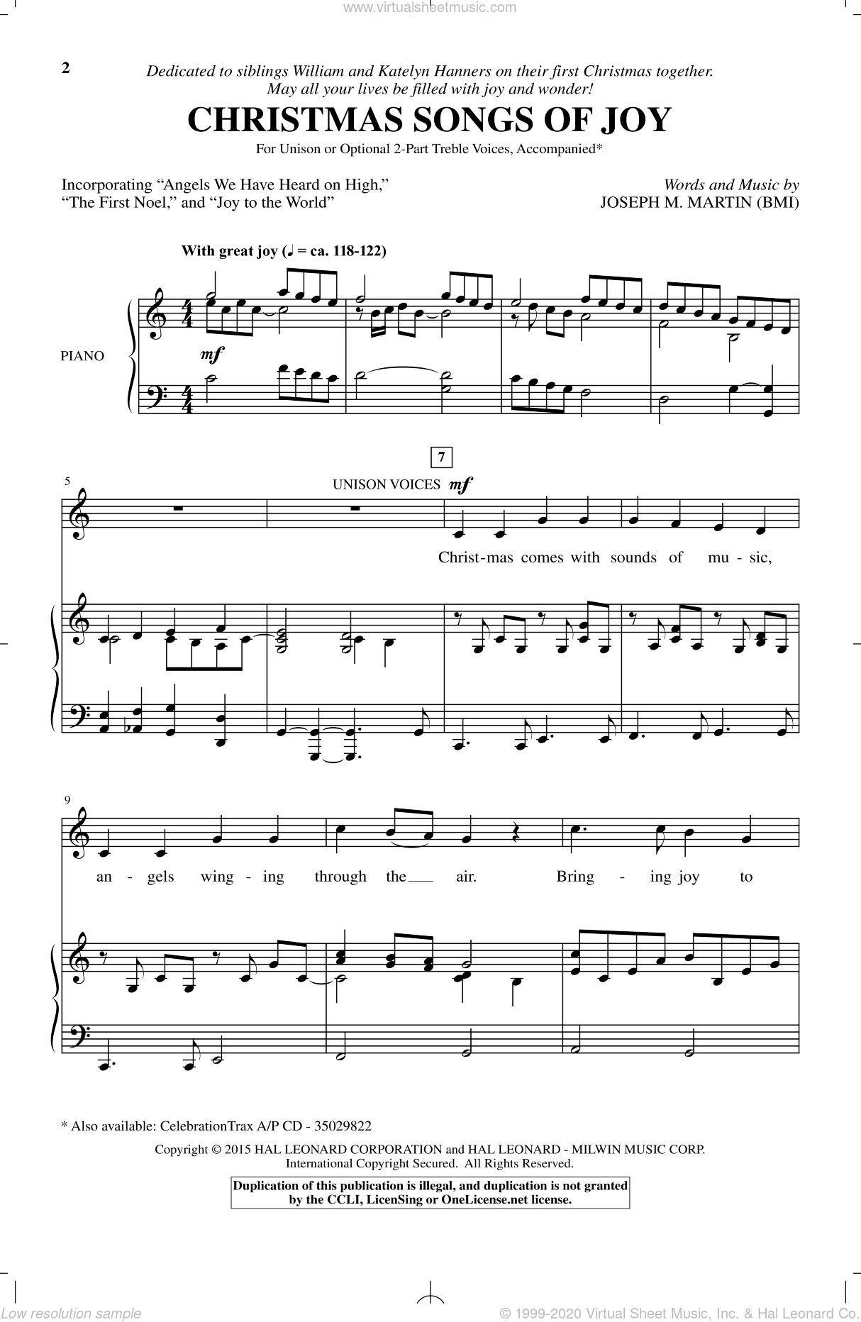 Christmas Songs Of Joy sheet music for choir by Joseph M. Martin. Score Image Preview.