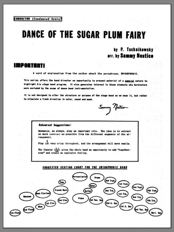 Dance Of The Sugar Plum Fairy (COMPLETE) sheet music for jazz band by Sammy Nestico, Pyotr Ilyich Tchaikovsky and Tschaikowsky, classical score, intermediate