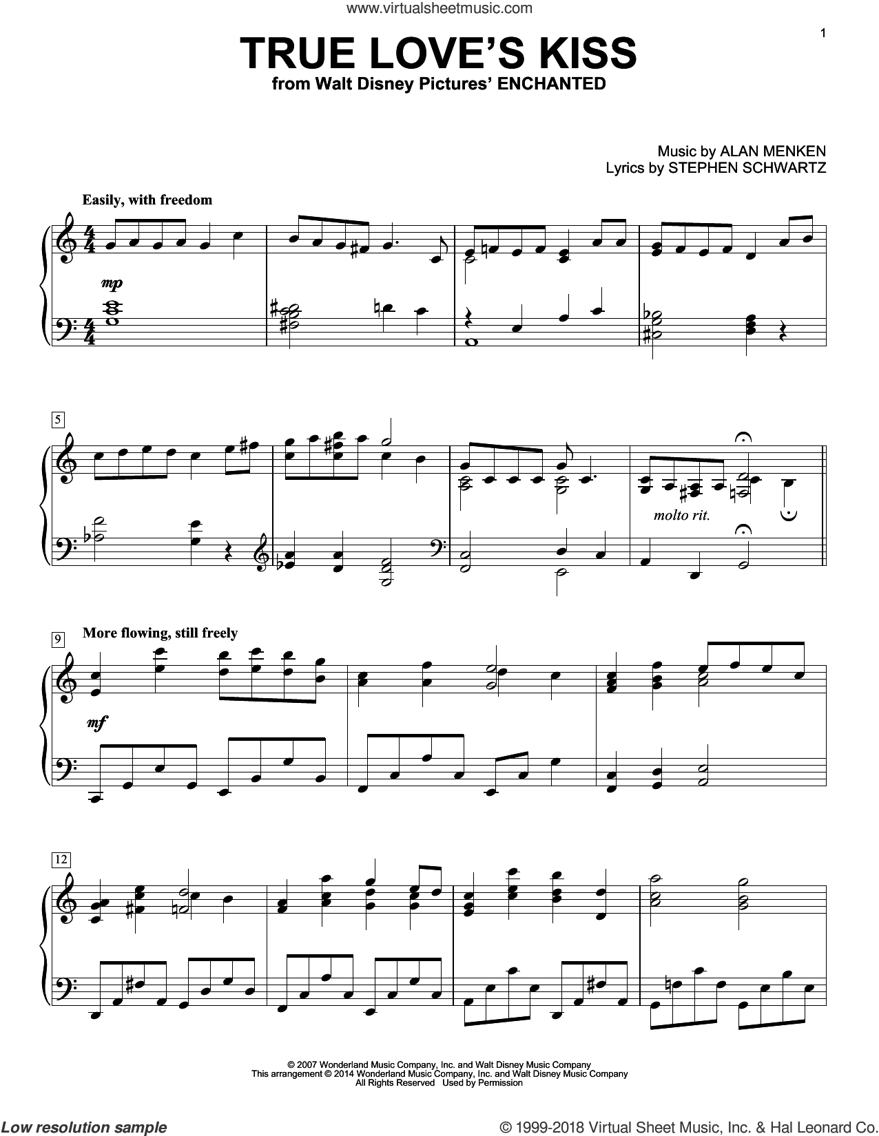True Love's Kiss sheet music for piano solo by Alan Menken and Stephen Schwartz, intermediate skill level