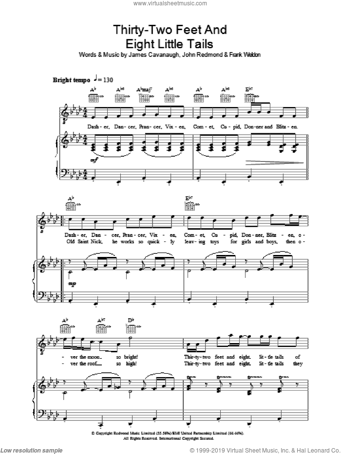 Thirty Two Feet And Eight Little Tails sheet music for voice, piano or guitar by John Redmond