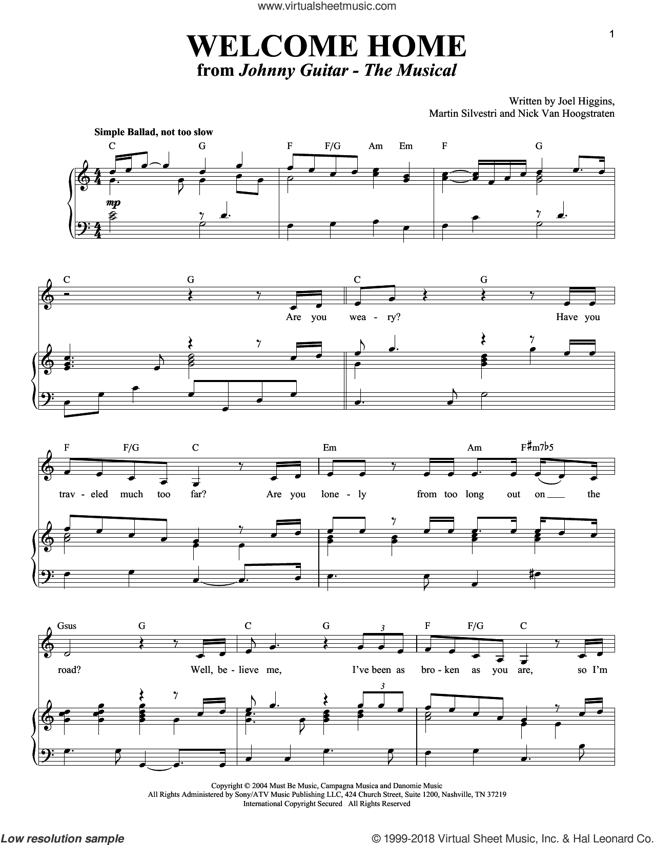 Welcome Home sheet music for voice and piano by Martin Silvestri. Score Image Preview.