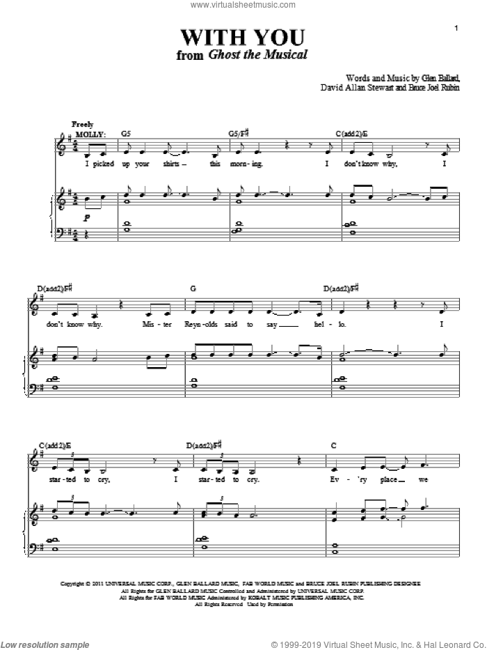 With You sheet music for voice and piano by David Allan Stewart and Glen Ballard. Score Image Preview.
