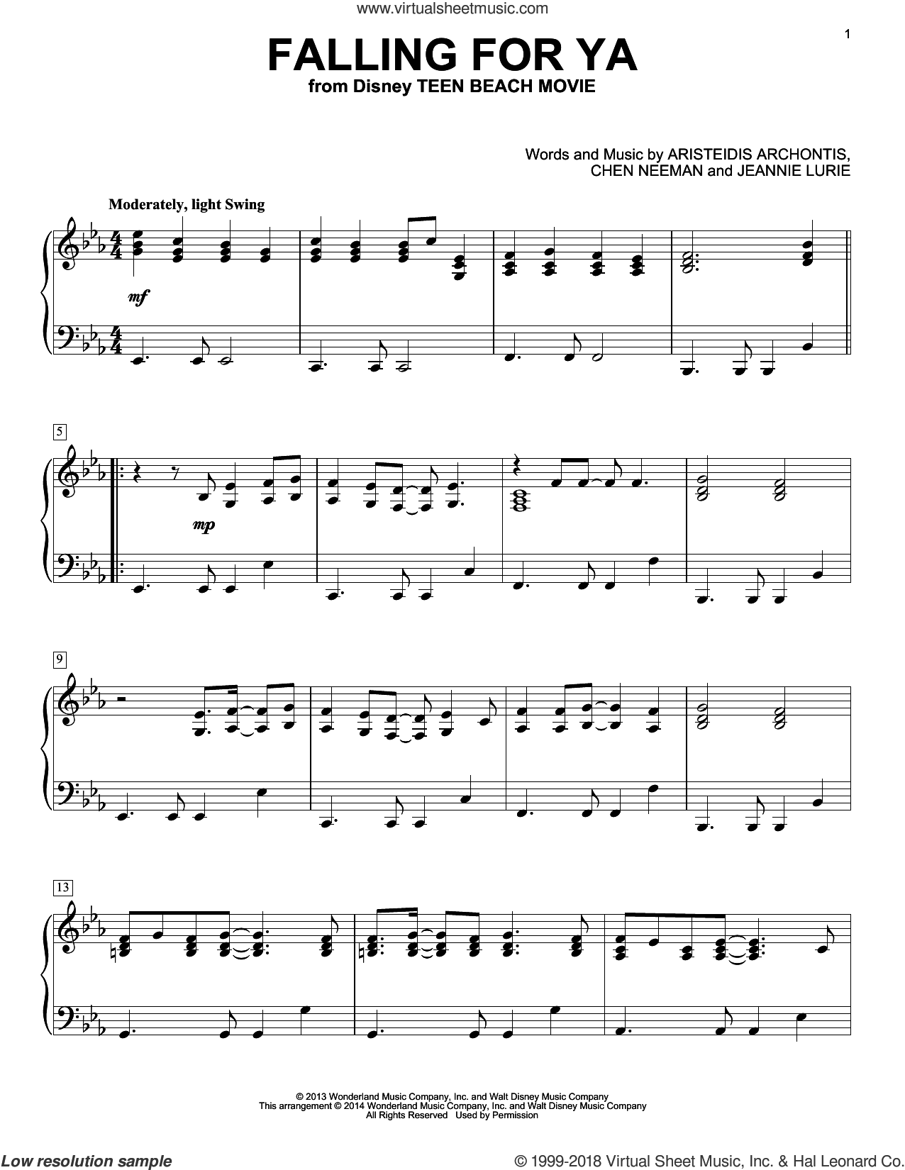 Falling For Ya sheet music for piano solo by Jeannie Lurie, Aristeidis Archontis and Chen Neeman, intermediate skill level