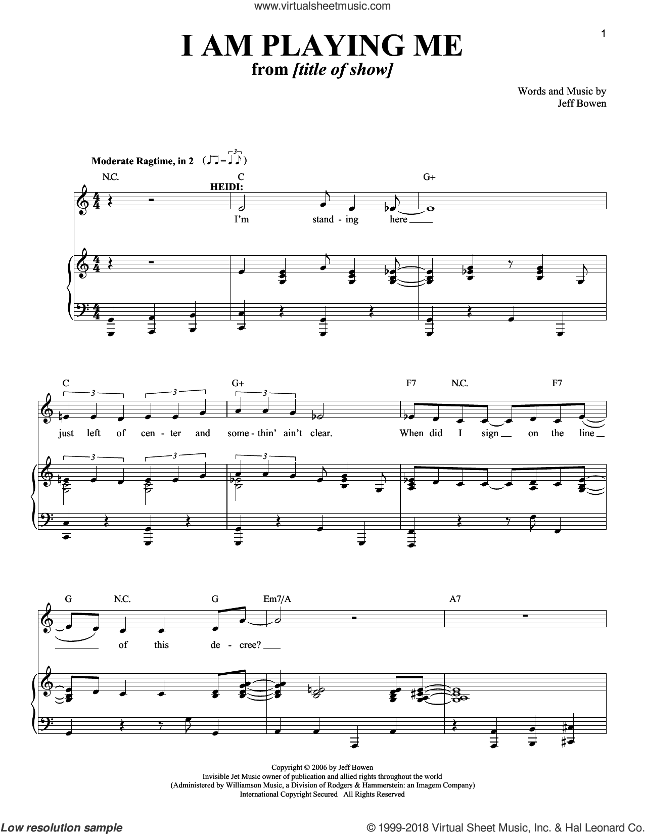 I Am Playing Me sheet music for voice and piano by Jeff Bowen, intermediate voice. Score Image Preview.