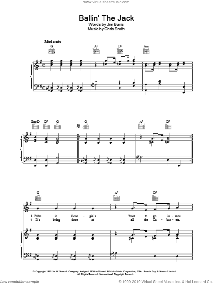 Ballin' The Jack sheet music for voice, piano or guitar by Jim Burris and Jelly Roll Morton. Score Image Preview.