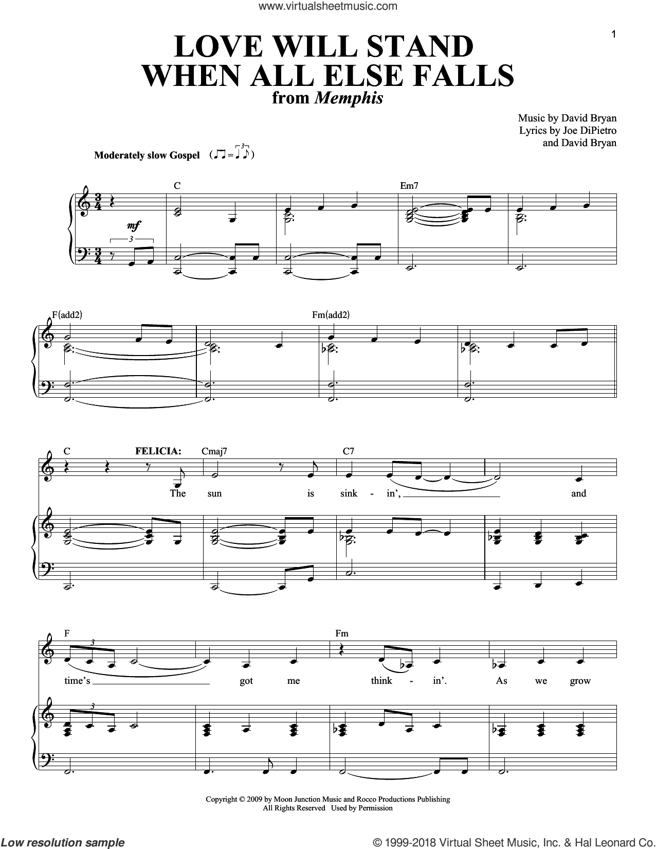 Love Will Stand When All Else Falls sheet music for voice and piano by David Bryan and Joe DiPietro, intermediate voice. Score Image Preview.