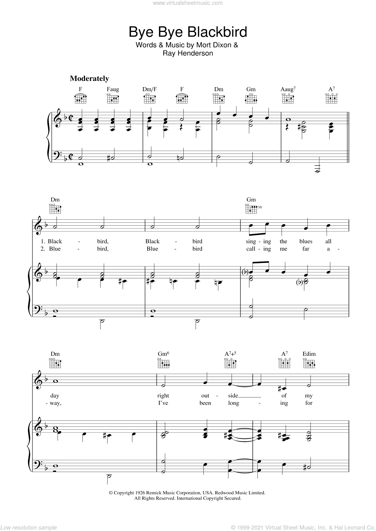 Bye Bye Blackbird sheet music for voice, piano or guitar by Ray Henderson and Mort Dixon, intermediate skill level