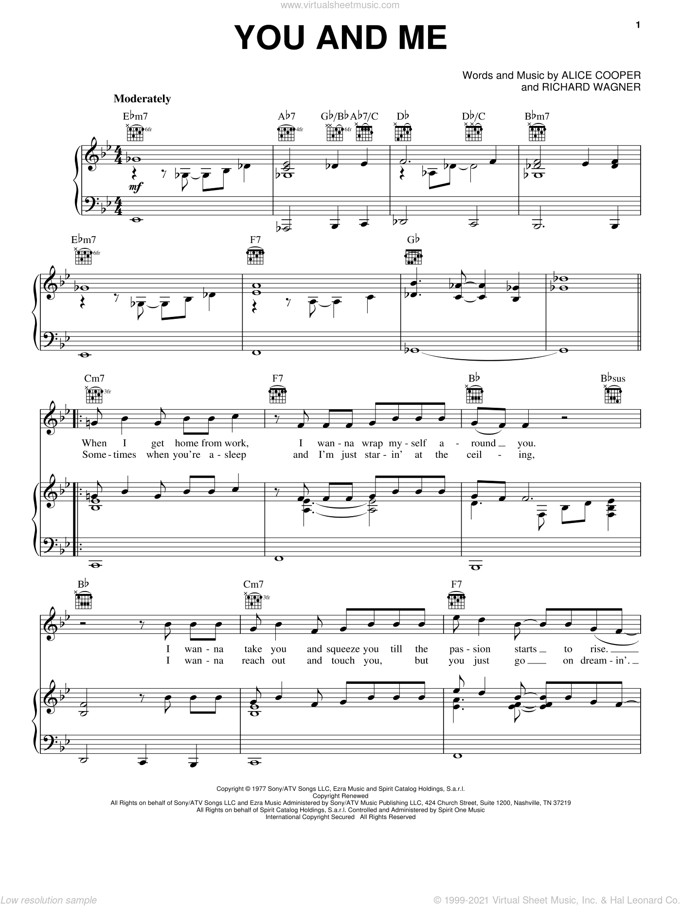 You And Me sheet music for voice, piano or guitar by Alice Cooper and Richard Wagner. Score Image Preview.