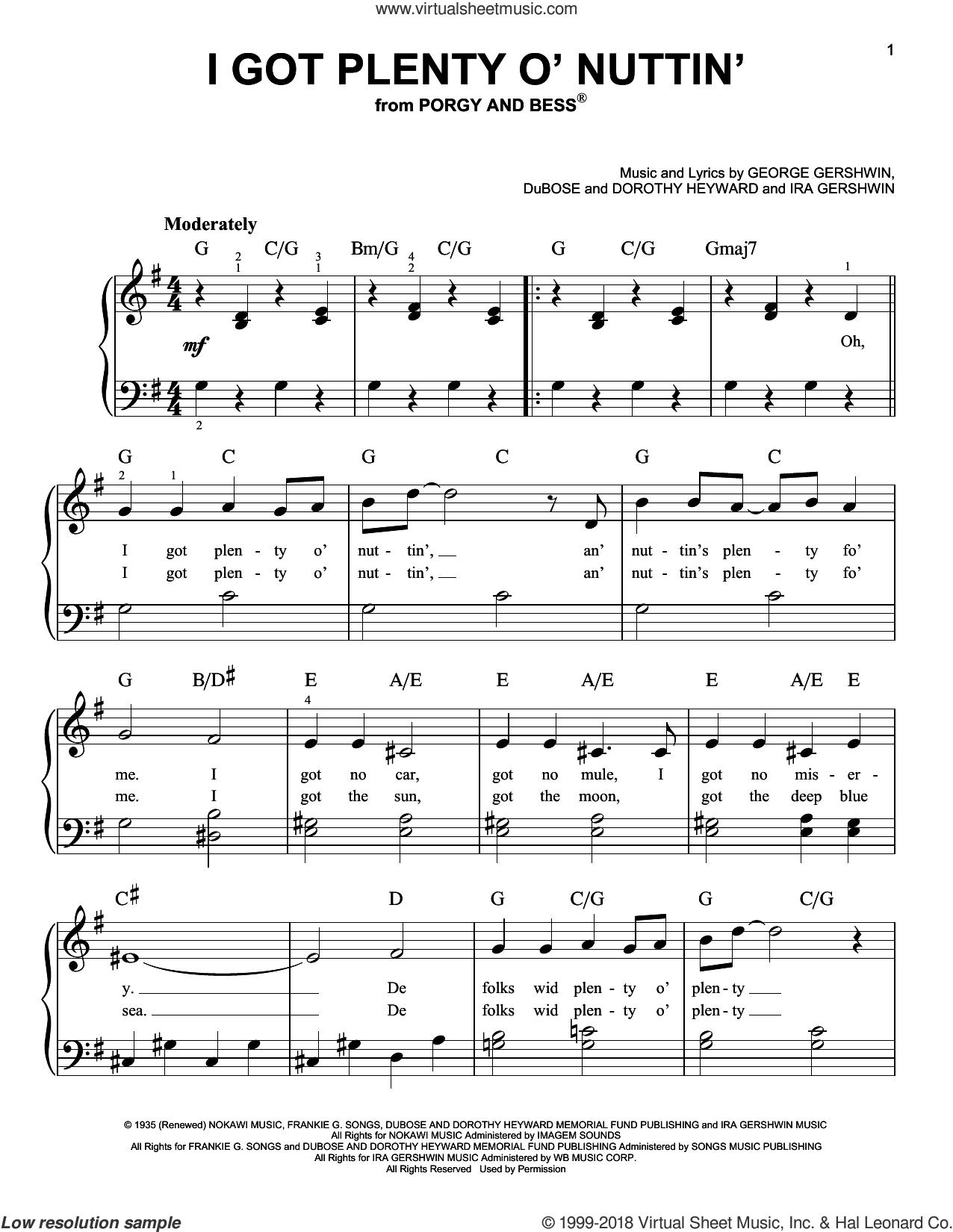 I Got Plenty O' Nuttin' (from Porgy and Bess) sheet music for piano solo by George Gershwin, Dorothy Heyward, DuBose Heyward and Ira Gershwin, beginner skill level