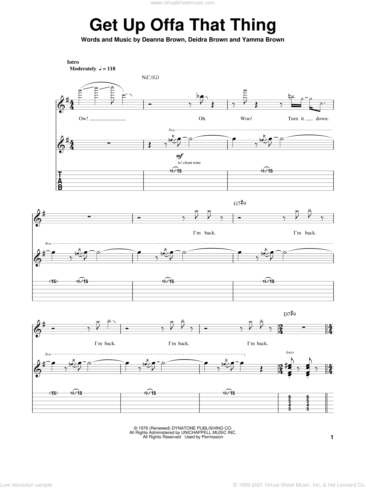Get Up Offa That Thing sheet music for guitar (tablature, play-along) by James Brown, Deanna Brown, Deidra Brown and Yamma Brown, intermediate skill level