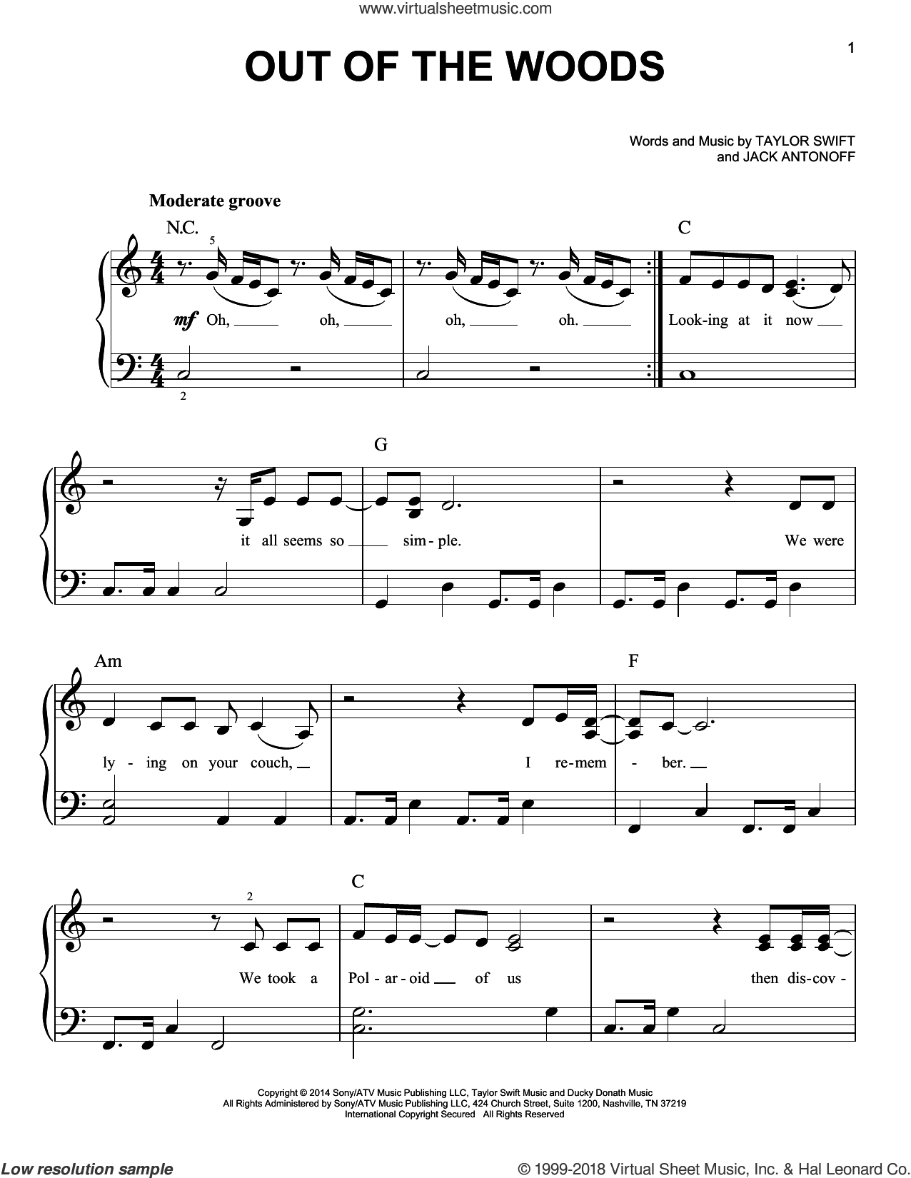 Out Of The Woods sheet music for piano solo by Jack Antonoff and Taylor Swift. Score Image Preview.