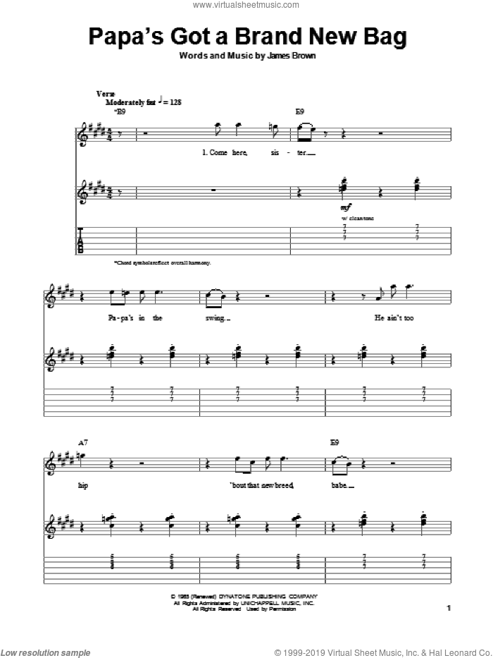Papa's Got A Brand New Bag sheet music for guitar (tablature, play-along) by James Brown and Otis Redding, intermediate skill level
