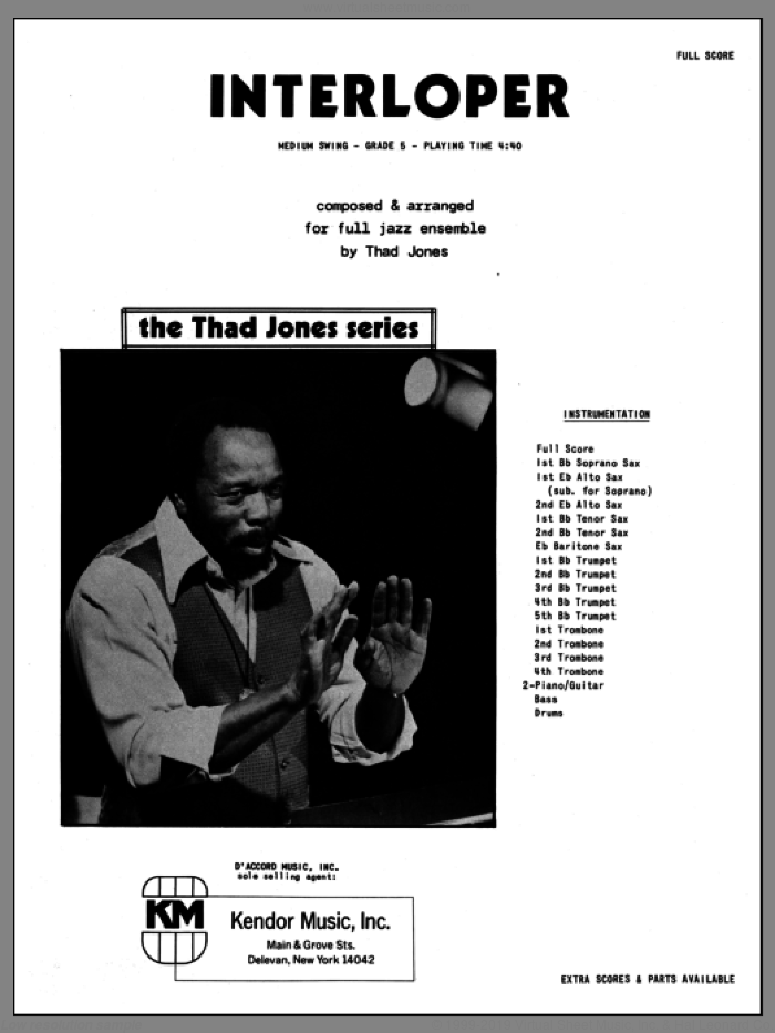 Interloper (COMPLETE) sheet music for jazz band by Thad Jones, intermediate. Score Image Preview.