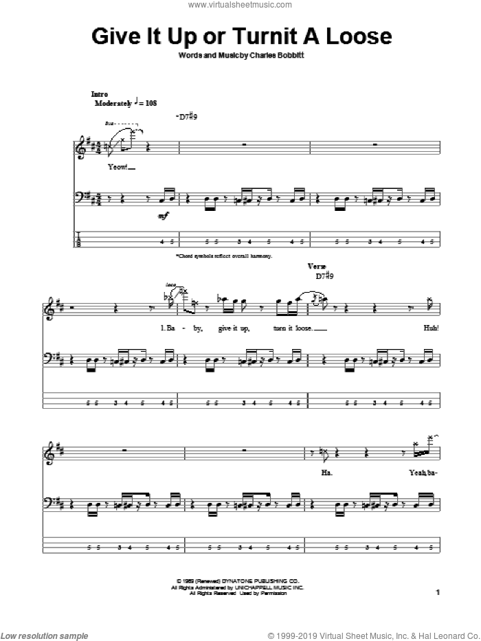 Give It Up Or Turnit A Loose sheet music for bass (tablature) (bass guitar) by Charles Bobbitt and James Brown. Score Image Preview.