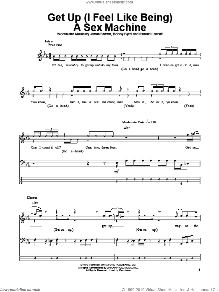 Get Up (I Feel Like Being A Sex Machine) sheet music for bass (tablature) (bass guitar) by Ronald Lenhoff, Bobby Byrd and James Brown. Score Image Preview.