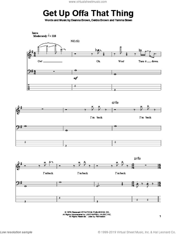 Get Up Offa That Thing sheet music for bass (tablature) (bass guitar) by James Brown, Deanna Brown, Deidra Brown and Yamma Brown, intermediate skill level