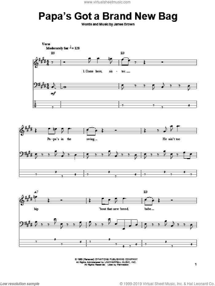 Papa's Got A Brand New Bag sheet music for bass (tablature) (bass guitar) by James Brown and Otis Redding. Score Image Preview.