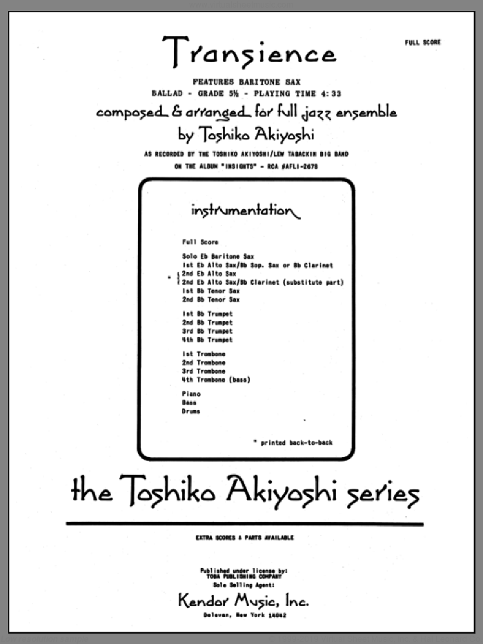 Transience (COMPLETE) sheet music for jazz band by Toshiko Akiyoshi, intermediate skill level