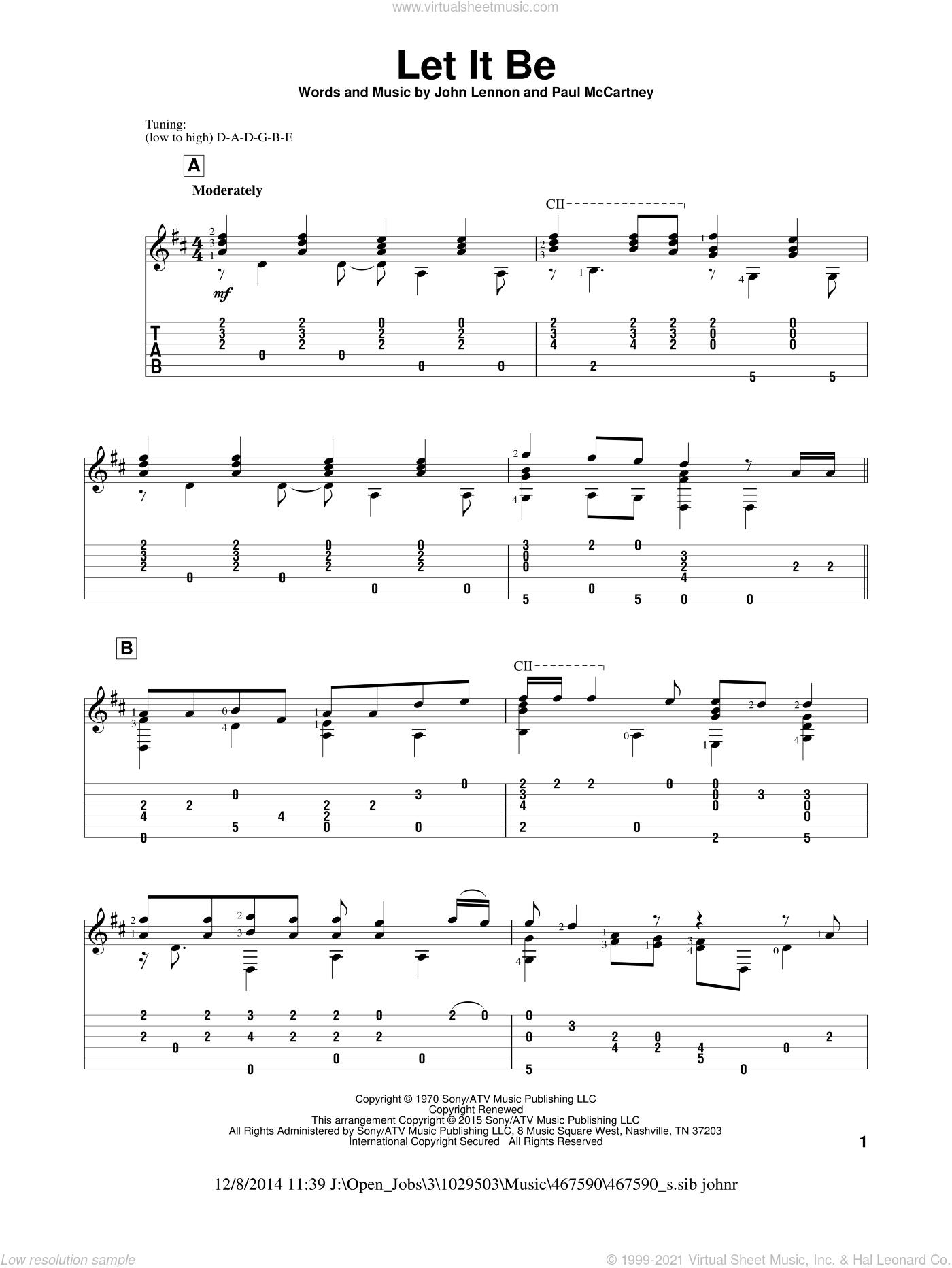 Let It Be sheet music for guitar solo by The Beatles, John Hill, Kris Allen, John Lennon and Paul McCartney, intermediate skill level
