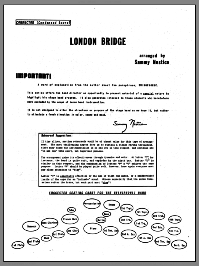 London Bridge (COMPLETE) sheet music for jazz band by Sammy Nestico, intermediate jazz band. Score Image Preview.