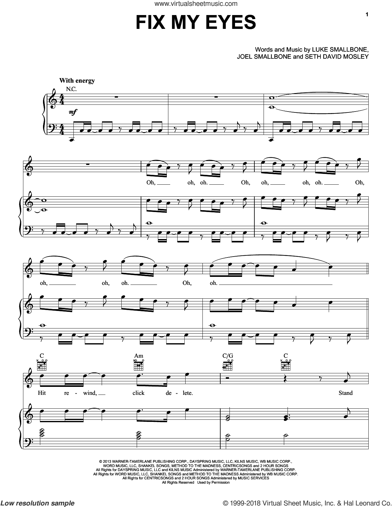 Fix My Eyes sheet music for voice, piano or guitar by for KING & COUNTRY, Joel Smallbone, Luke Smallbone and Seth David Mosley, intermediate skill level