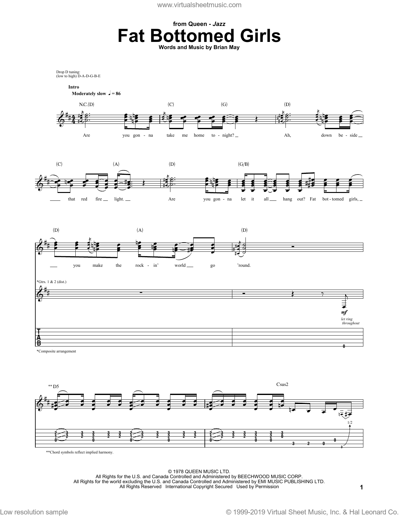 Fat Bottomed Girls sheet music for guitar (tablature) by Queen, Glee Cast and Brian May, intermediate skill level