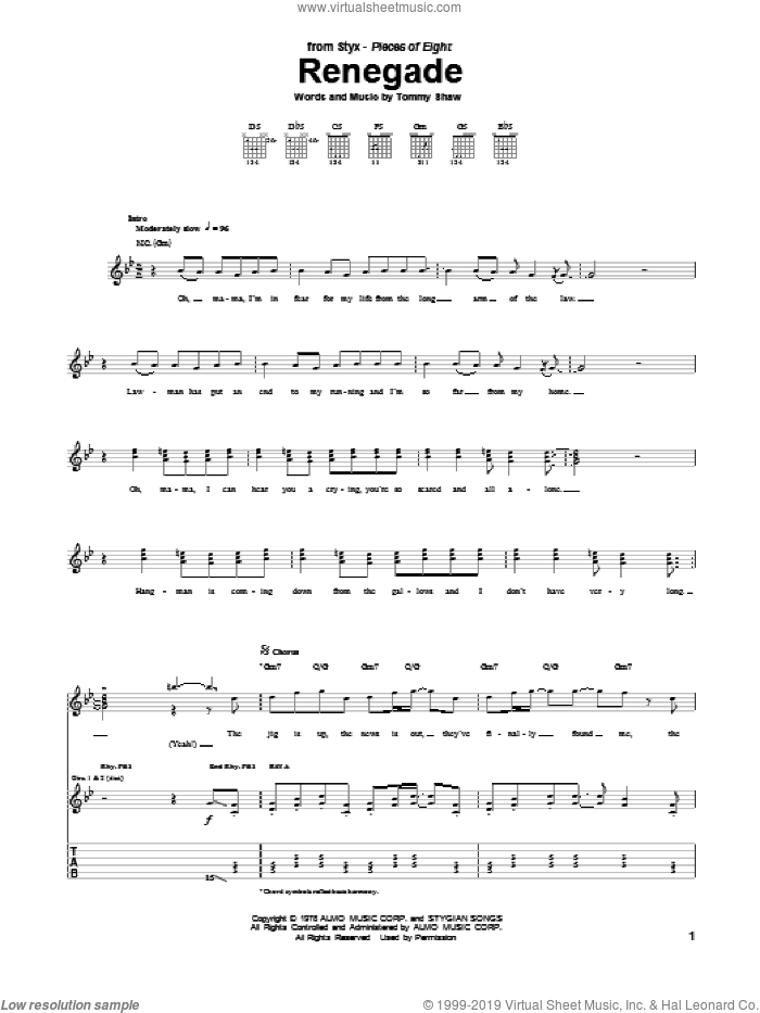 Renegade sheet music for guitar (tablature) by Styx and Tommy Shaw, intermediate skill level