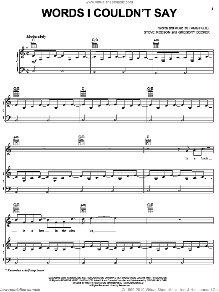 Words I Couldn't Say sheet music for voice, piano or guitar by Rascal Flatts, Gregory Becker, Steve Robson and Tammi Kidd, intermediate skill level