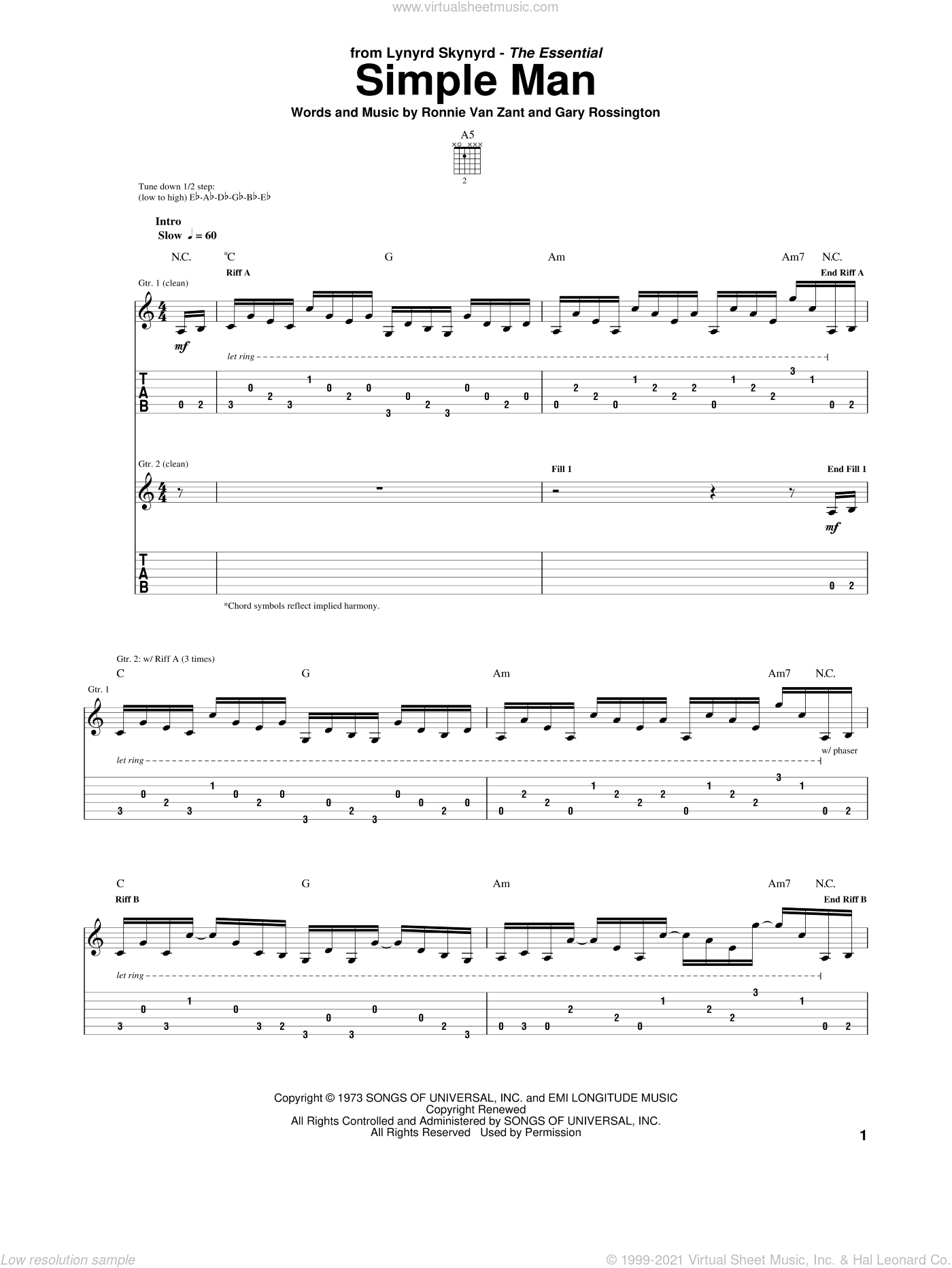 Simple Man sheet music for guitar (tablature) by Lynyrd Skynyrd, Gary Rossington and Ronnie Van Zant, intermediate skill level