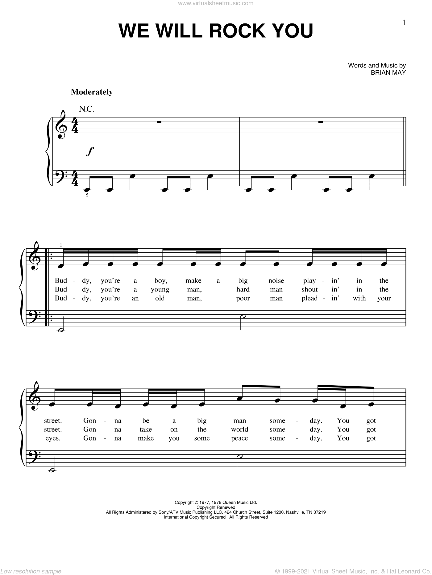 We Will Rock You, (beginner) sheet music for piano solo by Queen and Brian May, beginner skill level