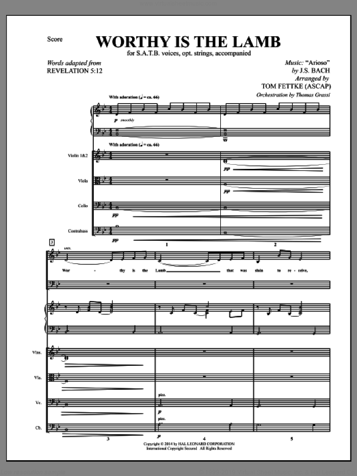 Worthy Is the Lamb (COMPLETE) sheet music for orchestra/band by Johann Sebastian Bach, Revelation 5:12 and Tom Fettke, classical score, intermediate skill level