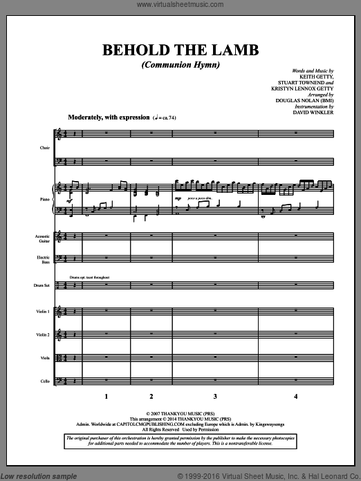 Behold the Lamb (Communion Hymn) (COMPLETE) sheet music for orchestra by Stuart Townend, Douglas Nolan and Keith Getty, intermediate. Score Image Preview.
