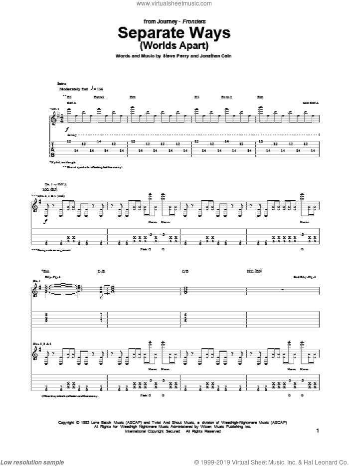 Separate Ways (Worlds Apart) sheet music for guitar (tablature) by Journey, Jonathan Cain and Steve Perry, intermediate guitar (tablature). Score Image Preview.