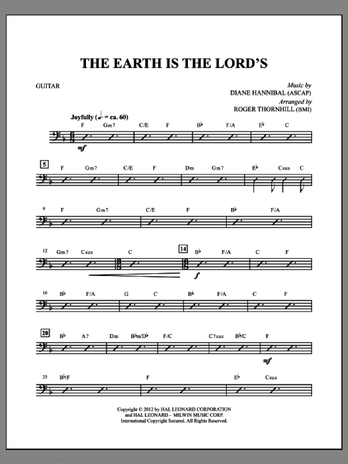 The Earth Is the Lord's (complete set of parts) sheet music for orchestra/band by Roger Thornhill, Diane Hannibal and Wes Hannibal, intermediate skill level