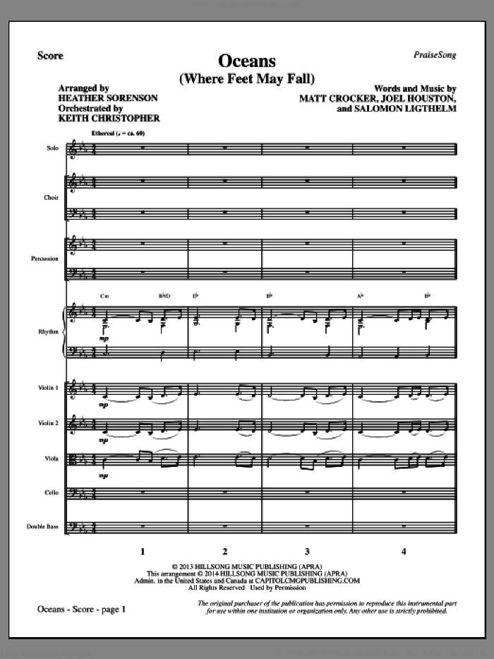 Oceans (Where Feet May Fail) (COMPLETE) sheet music for orchestra/band by Heather Sorenson, Hillsong United, Joel Houston, Matt Crocker and Salomon Lighthelm, intermediate skill level
