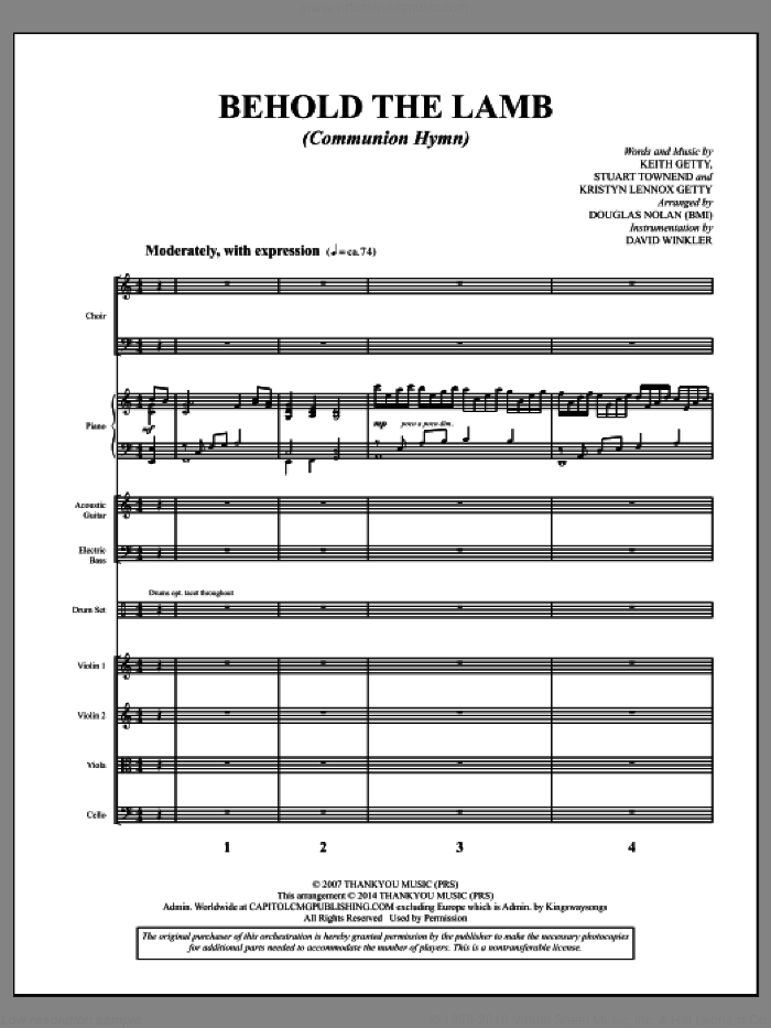 Behold the Lamb (Communion Hymn) (COMPLETE) sheet music for orchestra/band by Douglas Nolan, Keith Getty, Kristyn Lennox Getty and Stuart Townend, intermediate skill level