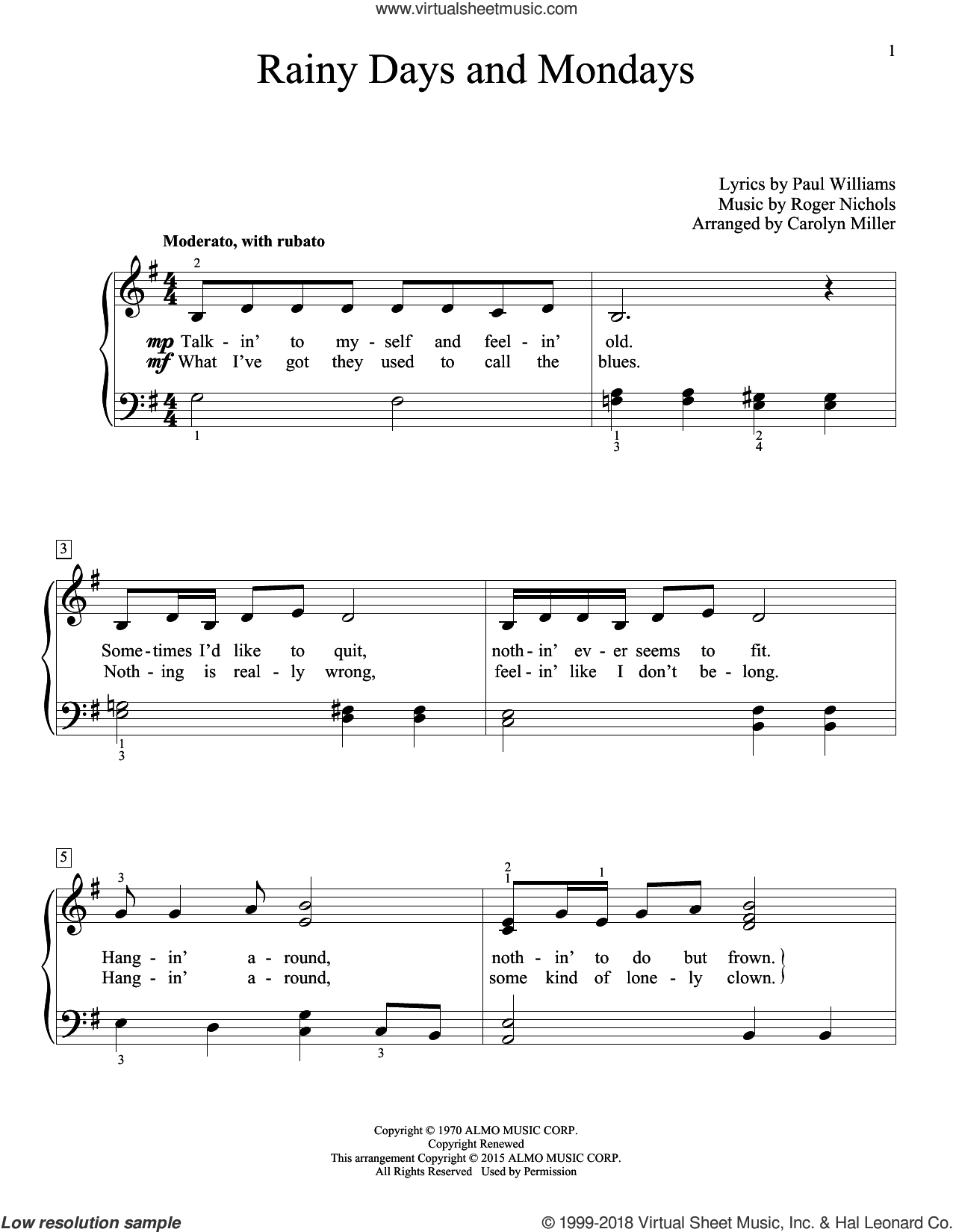 Rainy Days And Mondays sheet music for piano solo (elementary) by Paul Williams, Carolyn Miller, Carpenters and John Thompson. Score Image Preview.