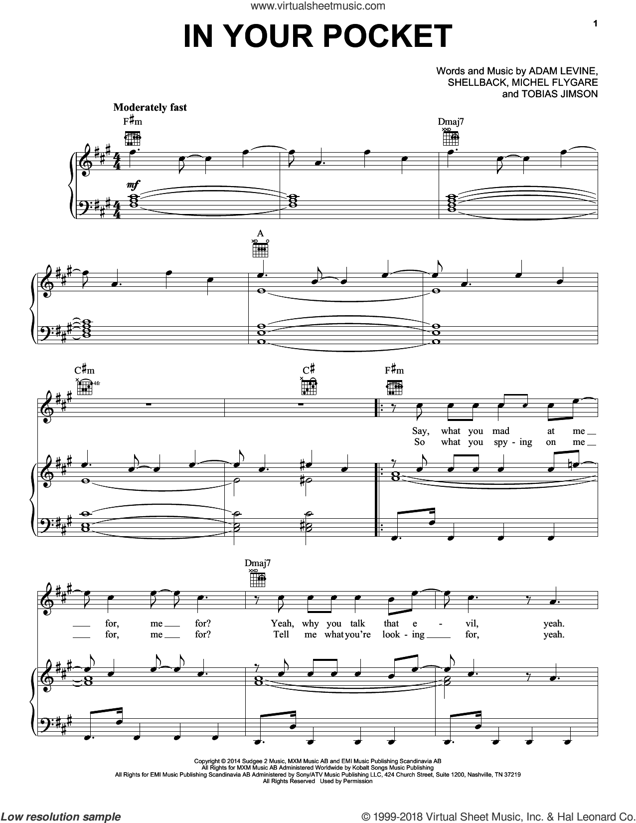 In Your Pocket sheet music for voice, piano or guitar by Maroon 5, Adam Levine and Shellback, intermediate. Score Image Preview.