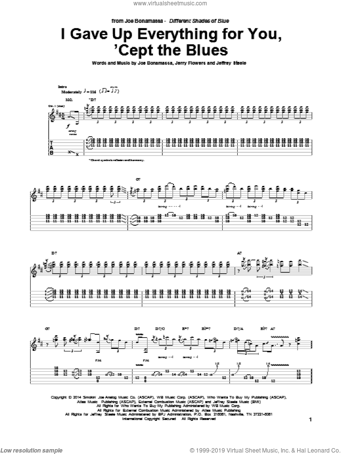 I Gave Up Everything For You, 'Cept The Blues sheet music for guitar (tablature) by Joe Bonamassa, Jeffrey Steele and Jerry Flowers, intermediate skill level