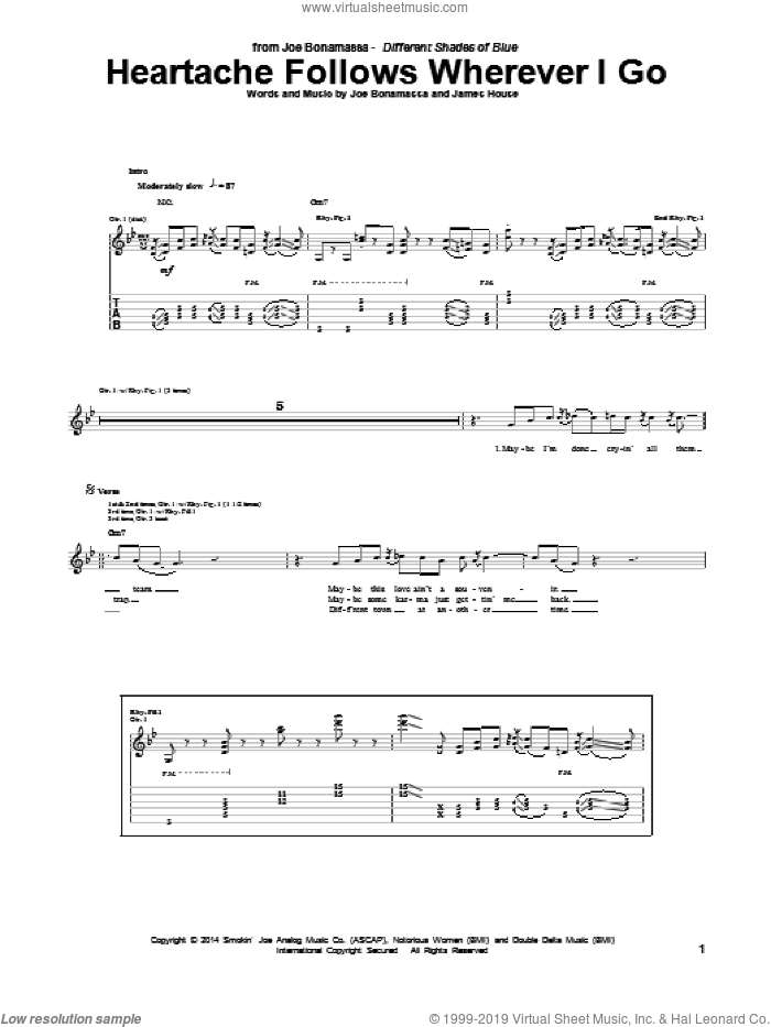 Heartache Follows Wherever I Go sheet music for guitar (tablature) by James House and Joe Bonamassa. Score Image Preview.