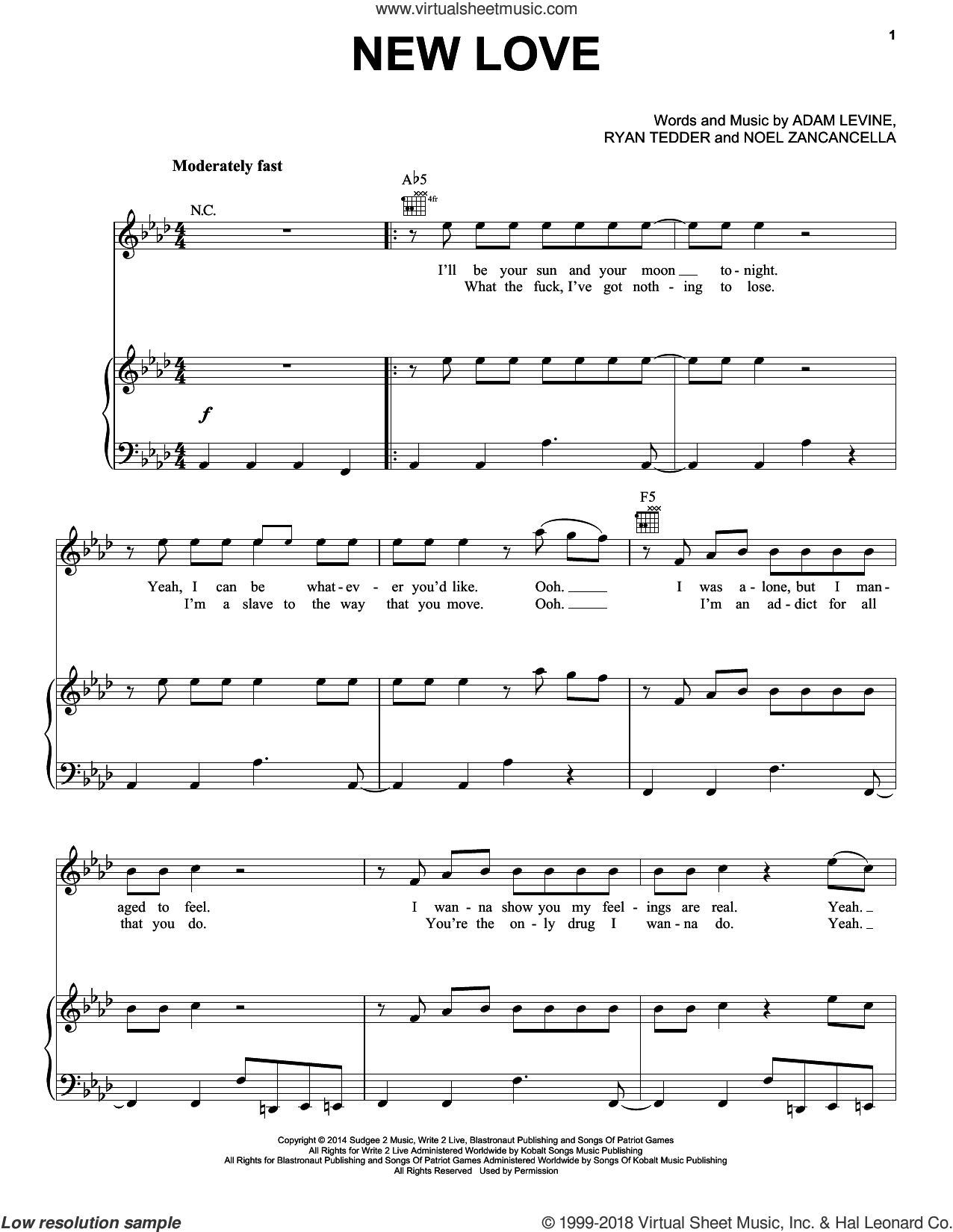 New Love sheet music for voice, piano or guitar by Ryan Tedder, Maroon 5, Adam Levine and Noel Zancanella. Score Image Preview.