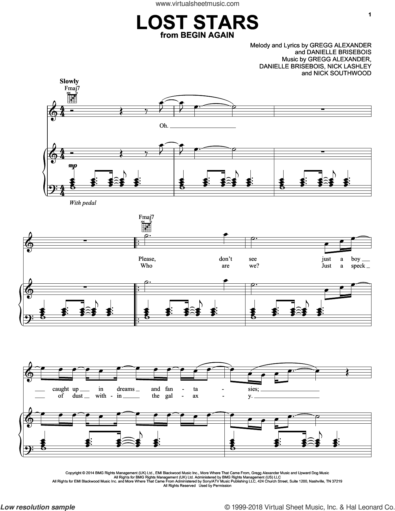 Lost Stars sheet music for voice, piano or guitar by Maroon 5, Danielle Brisebois and Gregg Alexander, intermediate. Score Image Preview.