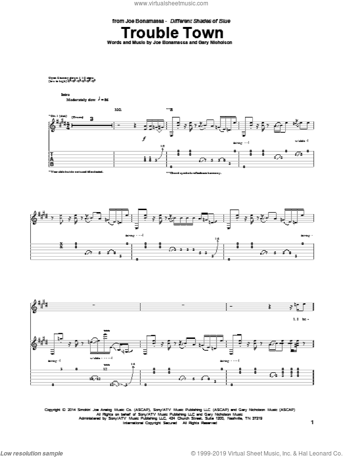 Trouble Town sheet music for guitar (tablature) by Gary Nicholson and Joe Bonamassa. Score Image Preview.