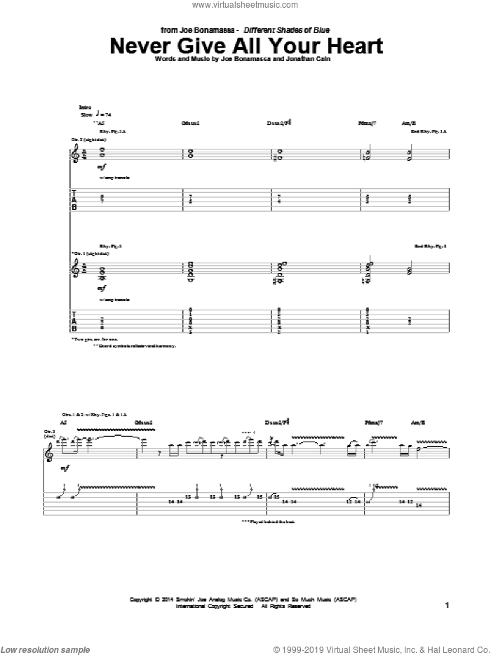 Never Give All Your Heart sheet music for guitar (tablature) by Jonathan Cain and Joe Bonamassa. Score Image Preview.