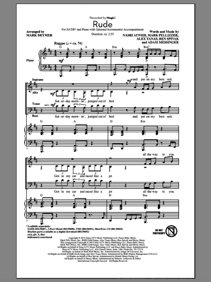 Rude sheet music for choir (SATB) by Nasri Atweh, Mark Brymer and Adam Messinger. Score Image Preview.