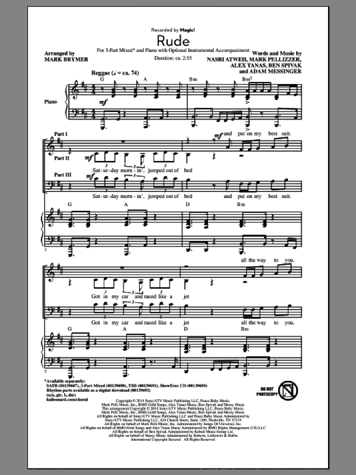 Rude sheet music for choir and piano (chamber ensemble) by Nasri Atweh, Mark Brymer and Adam Messinger. Score Image Preview.