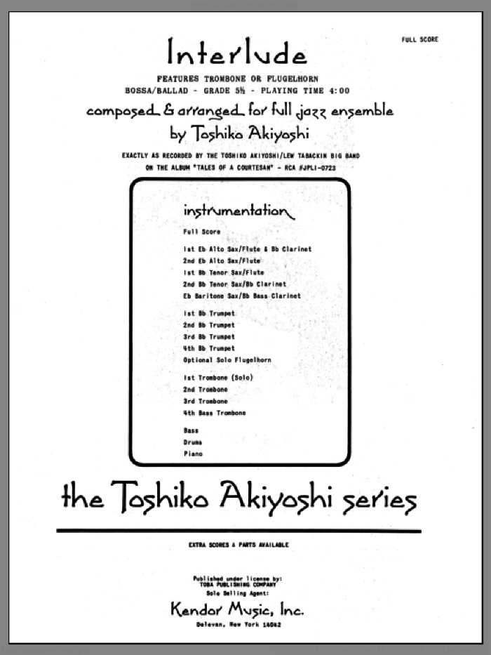 Interlude (COMPLETE) sheet music for jazz band by Toshiko Akiyoshi, intermediate. Score Image Preview.