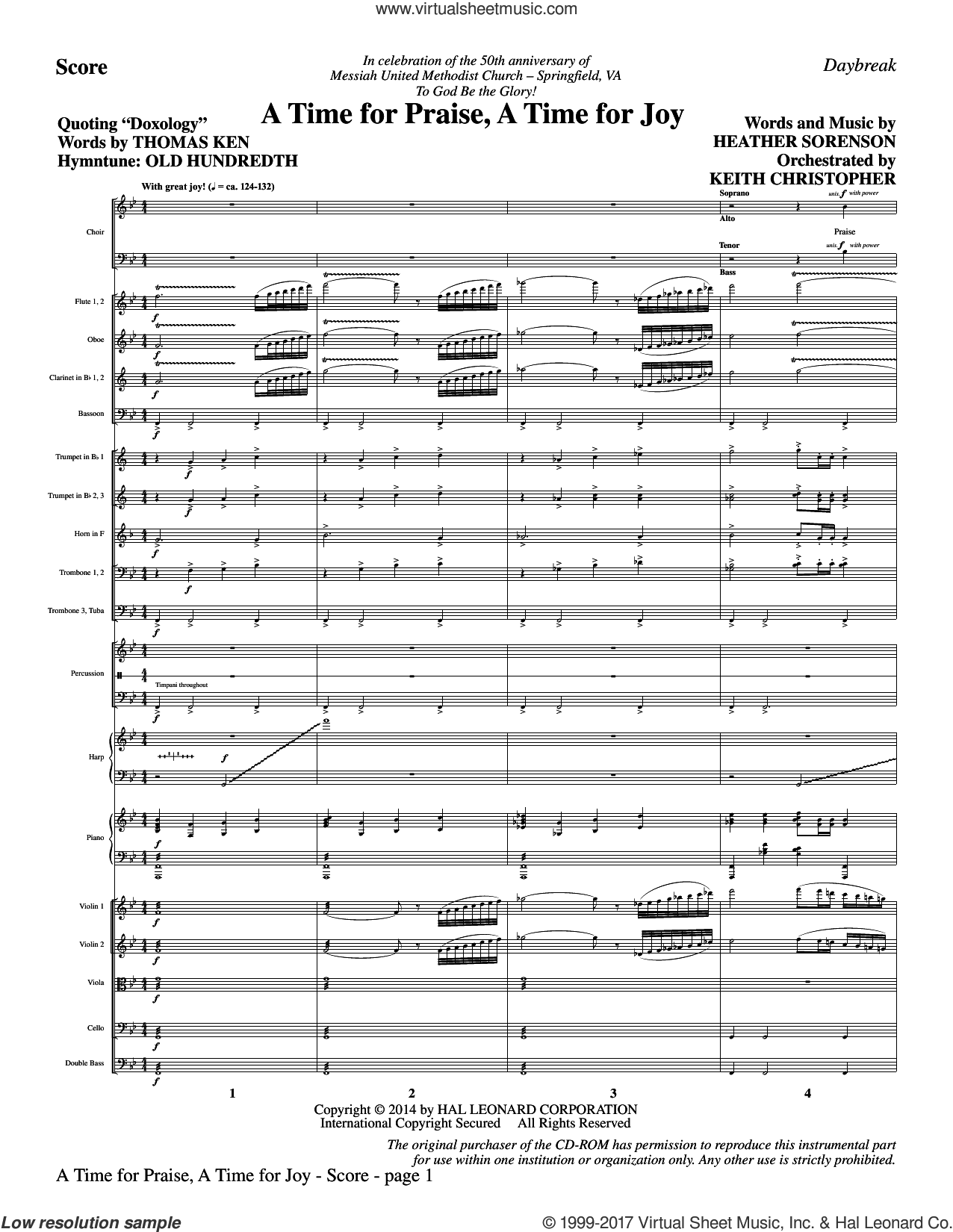 A Time for Praise, A Time for Joy (COMPLETE) sheet music for orchestra/band by Heather Sorenson, Louis Bourgeois and Thomas Ken, intermediate. Score Image Preview.