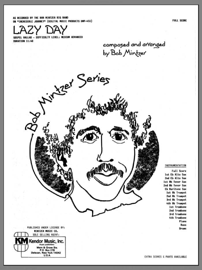 Lazy Day (COMPLETE) sheet music for jazz band by Bob Mintzer, intermediate skill level
