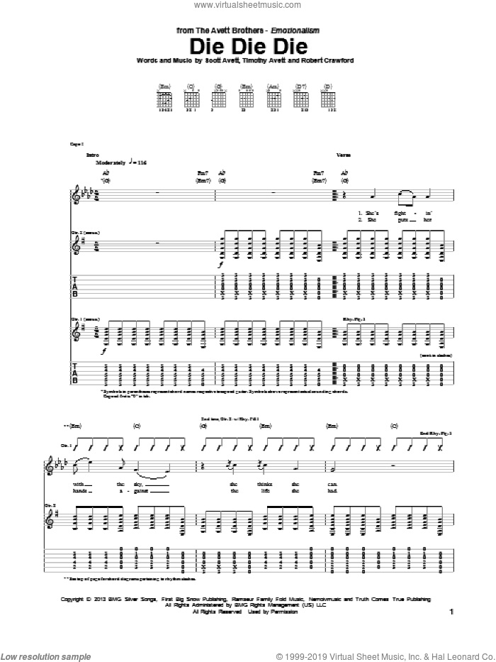 Die Die Die sheet music for guitar (tablature) by Timothy Avett. Score Image Preview.
